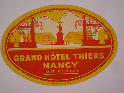 etiquette hotel luggage label GRAND HOTEL THIERS NANCY France