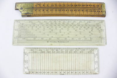 3 x Antique DRAWING / MAP RULERS / INSTRUMENTS Inc. W. Heath, W&T Gilbert