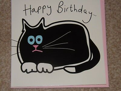 Cute BLACK CAT Themed Birthday Card See Photos