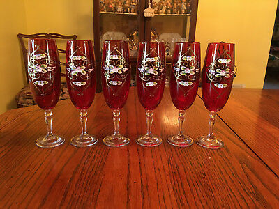 Vintage Set of 6 Czech Bohemian Red & Gold Hand Painted Champagne Flut