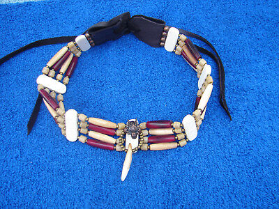 Native American Choker  Bone  Necklace w/ Brass wolf and Coyote Tooth  Handmade