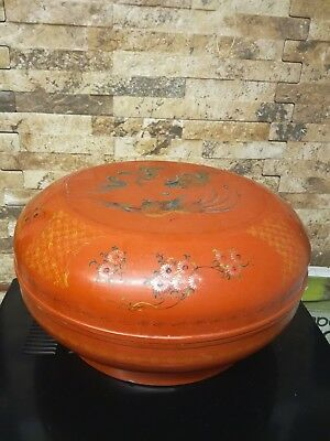 Vintage Chinese Wooden Food Basket, Hand Painted