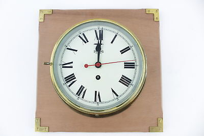 Vintage SMITHS Astral Brass Porthole SHIPS CLOCK Key-Wind w/ Wooden Stand