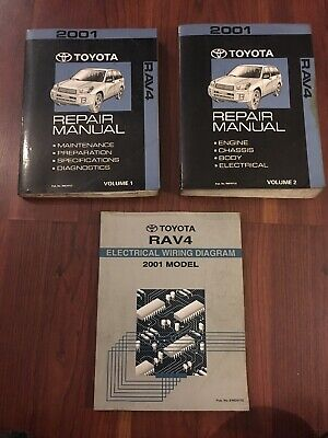 2001 Toyota RAV4 Volume 1 & 2 Service Repair Manual Factory OEM BOOK