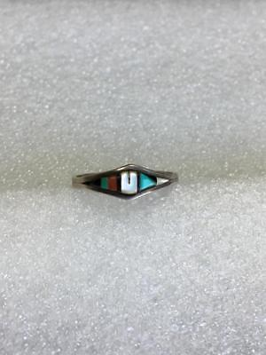 Old Pawn Zuni Inlaid Multi-Stone 925 Sterling Silver Ring Size 8.5 Signed