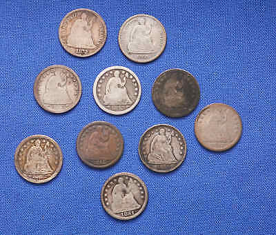 10 Silver Seated Liberty Half Dimes. No Reserve.