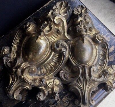 Pair Of Antique French Bronze Architectural Salvage Pediment Fragment