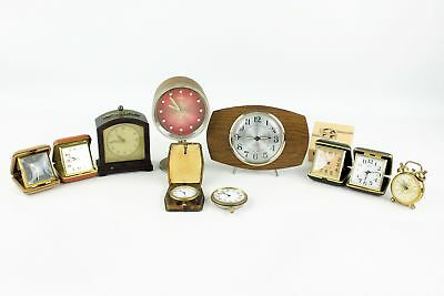 10 x Assorted Vintage CLOCKS Hand-Wind WORKING Inc. Travel, Alarm, Europa, Emes