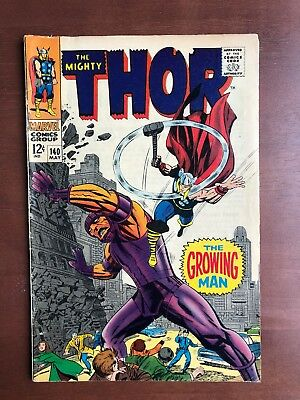 Thor #140 (1967) 7.0 FN Marvel Key Issue Comic Silver Age 1st App Growing Man