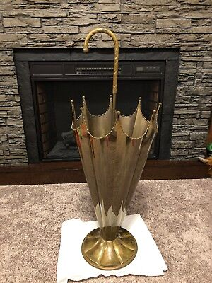 Vintage Solid Brass Umbrella Stand Holder  Victorian Parasol Style BEAUTIFUL