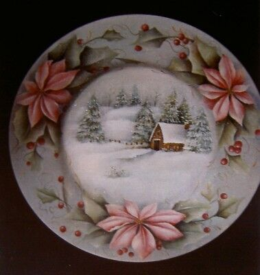 """Mary M. Wiseman tole painting pattern """"Winter Serenity Plate"""""""