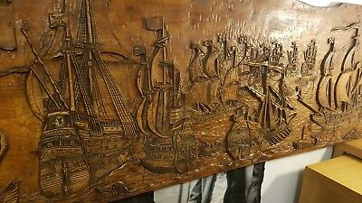 Wall wooden sculpture plaque Golden Hind ship Spanish Armada by Guy Solf