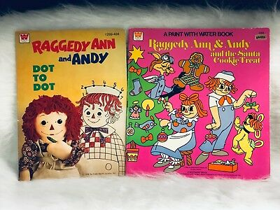 Raggedy Ann and Andy Coloring Dot to Dot Paint with Water Book Lot of 2 Vintage