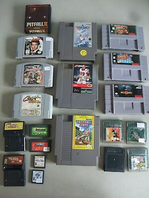 Nintendo, NES, SNES, N64, Gameboy Game Lot of 20 for Parts or Repair