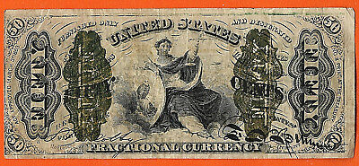 FR 1365 or 1369  3RD ISSUE 50 ¢ FRACTIONAL JUSTICE GREEN BACK A -2-6-5- a