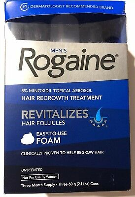 ROGAINE MEN'S FOAM 3 MONTH SUPPLY 5% minoxidil topical 3 cans NEW Exp 1/2020
