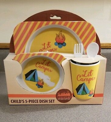 NIB Lil' Camper Child's 5-piece Dish Set Plate, Cup, Bowl, Fork and Spoon