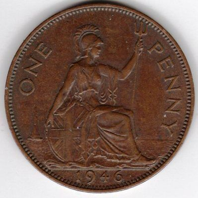 1946 One Penny King George VI Good Very Fine condition
