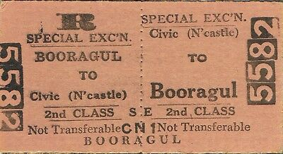 Railway tickets a trip from Civic-Newcastle to Booragul by the old NSWGR