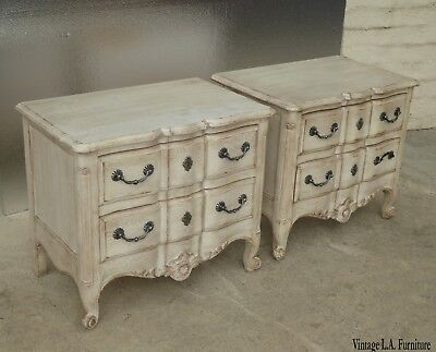 Pair Vintage John Widdicomb French Style Off White Nightstands Chic Shabby