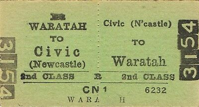 Railway tickets a trip from Civic-Newcastle to Waratah by the old NSWGR