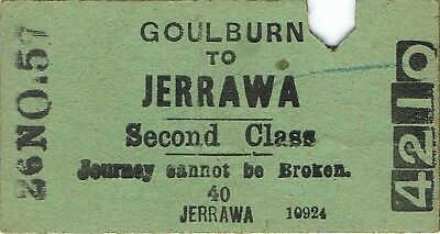 Railway tickets a trip from Goulburn to Jerrawa by the old NSWGR in 1957