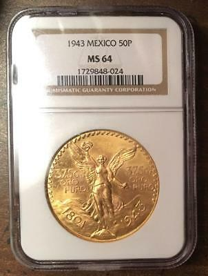 Mexican 1943 Gold 50 Peso 1.2057 Oz. Gold Coin Certified MS-64 by NGC