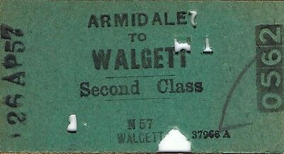 Railway tickets a trip from Armadale to Walgett by the old NSWGR in 1957