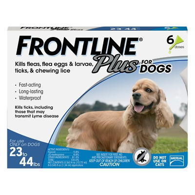 Frontline Plus Flea and Tick Control for Medium Dogs, 23 to 44 lbs, 6 Doses NEW