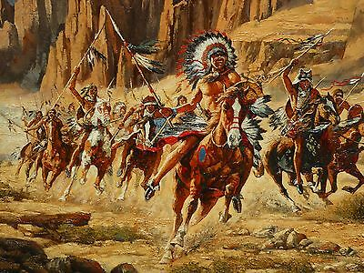 Large Vintage Oil on Canvas American Indians on Horses in Canyon Signed 87