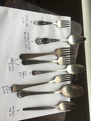 Lot 8 Antique American Silver,reed Barton,WM Rogers And Oneida Silverware