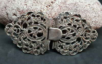 Rare Antique Chinese Export Solid Silver Belt Buckle 27 G.