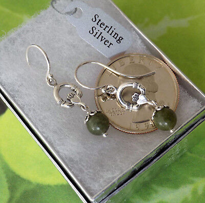 Tiny Irish Connemara Marble Celtic Claddagh Earrings ☘ Solid 925 Sterling Silver