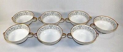 """Set of 7  Rosenthal """"Aida"""" """"Florentine Gold"""" Footed Cream Soup Bowls w/Handles"""