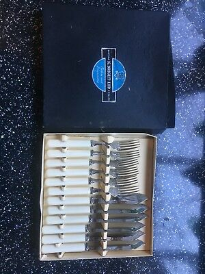 Boxed Vintage K Bright Sheffield Fish Cutlery set Cream Handles