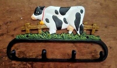 COW 4 HOOK BATHROOM or KITCHEN Towel Hanger, rustic farmhouse country cast iron