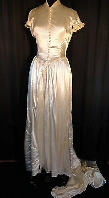 vintage 50's satin Ivory bridal Wedding gown Dress basque Train fit & flare SS