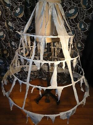 vintage 4 Hoop Skirt frame Distressed zombie Pirate wench Cotton drawstring OS