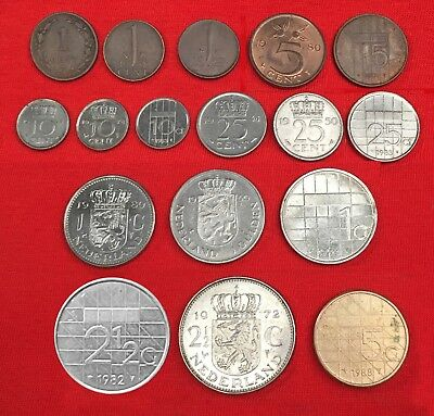 NETHERLANDS:-17 different pre Eurozone, 19th. -  20th. century coins. AP7227