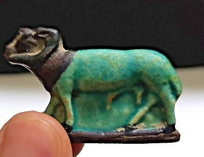 Egyptian Faience Glazed Ram Plaque Amulet