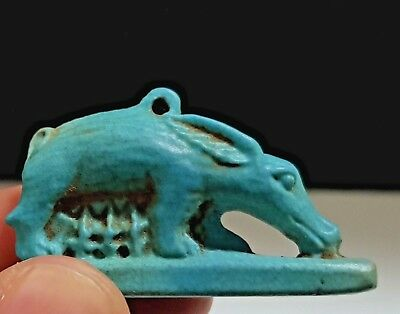 Egyptian Faience Sow Suckling Her Piglets Amulet