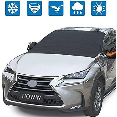 Windshield Snow Covers Car For Ice With Mirror + 4 Magnetic Edges Elastic Hooks,
