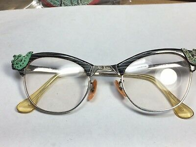 Vintage Rare Art Craft Cat Eyes Aluminum & 12K Gold Filled Rhinestone Eyeglasses