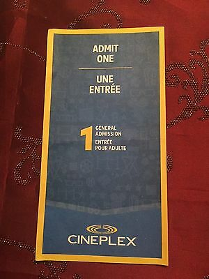 Cineplex Admit One Gift Certificate