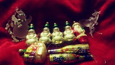 Vintage Lot Of 8 Glass Hand Blown Hand Painted Christmas Ornaments + 2 more