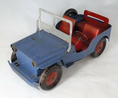 1950s Marx WILLYS JEEP Blue/Red Paint Pressed Steel w tin litho wheels Toy Truck
