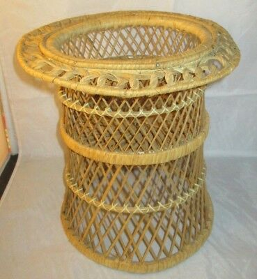 Vintage Wicker  Plant Stand Holder Planter Woven Basket Boho