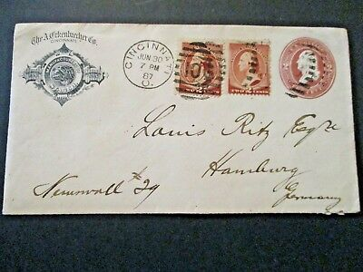 1887 US S# U277, 2c Brown Stamp Envelope with pair of S# 210 Stamps, Int'l Mail