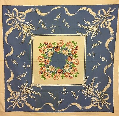 Vintage Blue & White Lilies Of The Valley & Daisy Flowers Tablecloth Broadcloth