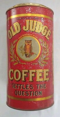 Vintage, OLD JUDGE COFFEE Tin Myer Brothers ST. LOUIS MO - RARE 3 LB
